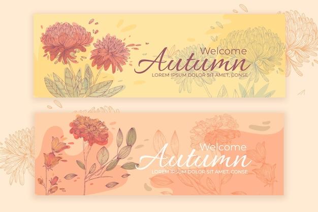Platte ontwerp herfst banners