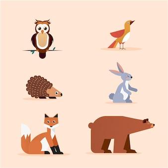 Platte ontwerp herfst bos dieren collectie