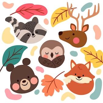 Platte ontwerp herfst bosdieren