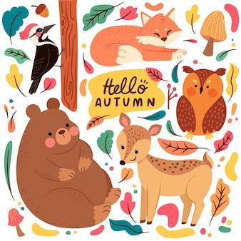 Platte ontwerp herfst forst dieren