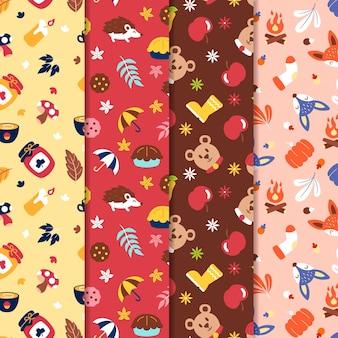Platte ontwerp herfst patroon collectie