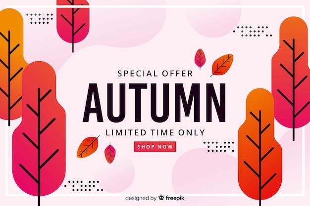 Platte ontwerp herfst verkoop achtergrond