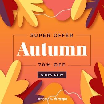 Platte ontwerp herfst verkoop banner