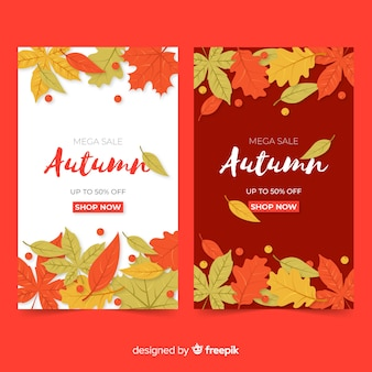 Platte ontwerp herfst verkoop banners collectie