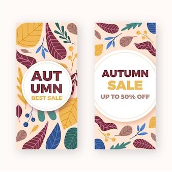 Platte ontwerp herfst verkoop banners instellen