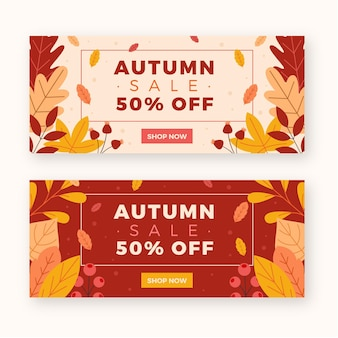 Platte ontwerp herfst verkoop banners sjabloon