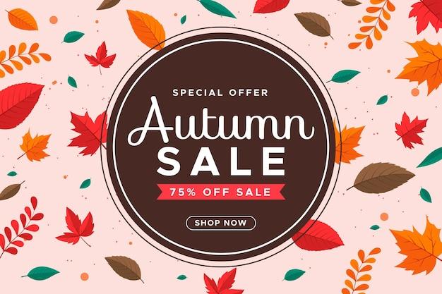 Platte ontwerp herfst verkoop banners