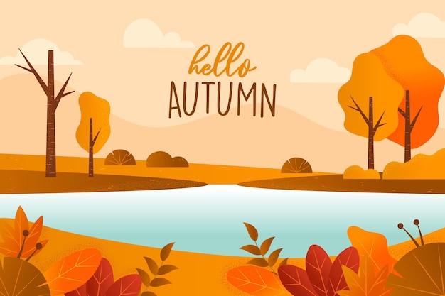 Platte ontwerp herfst weergave achtergrond
