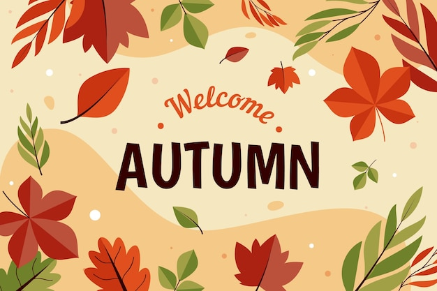 Platte ontwerp herfstbladeren achtergrond
