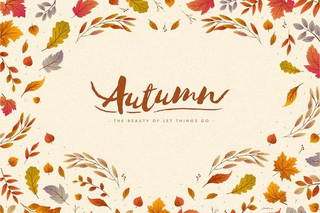 Platte ontwerp herfstbladeren behang