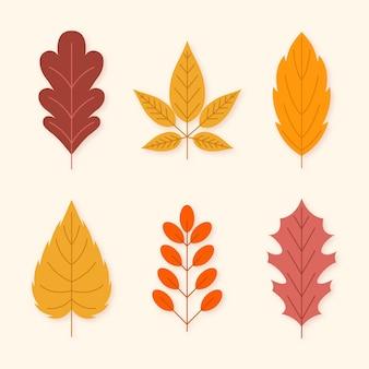 Platte ontwerp herfstbladeren collectie