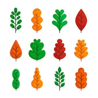 Platte ontwerp herfstbladeren set