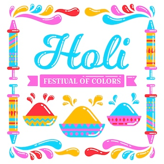 Platte ontwerp holi festival evenement