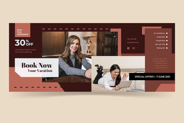Platte ontwerp hotel sjabloon voor spandoek met foto