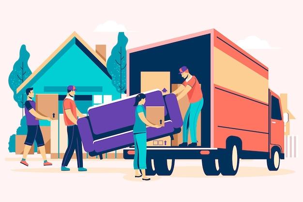 Platte ontwerp huis bewegende concept met vrachtwagen