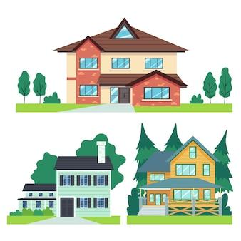 Platte ontwerp huis illustraties collectie