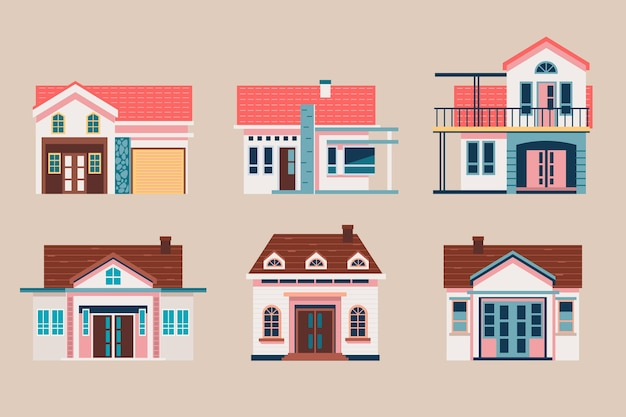 Platte ontwerp huis ingesteld sjabloon