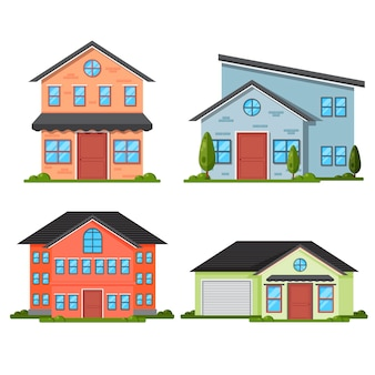 Platte ontwerp huis set
