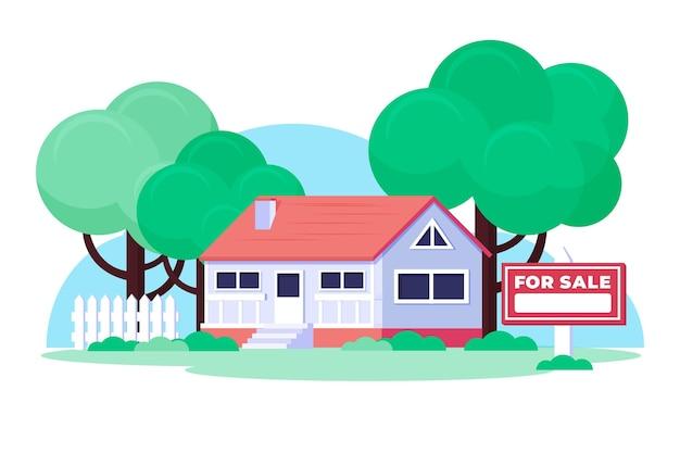 Platte ontwerp huis te koop illustratie