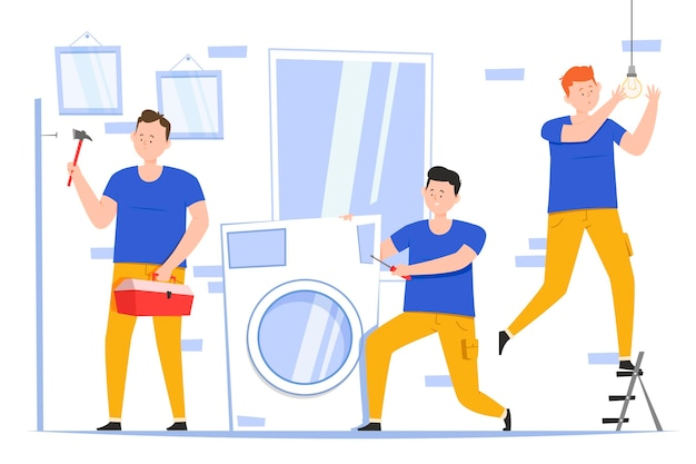 Platte ontwerp huishoudelijke en renovatieberoepen met mannen