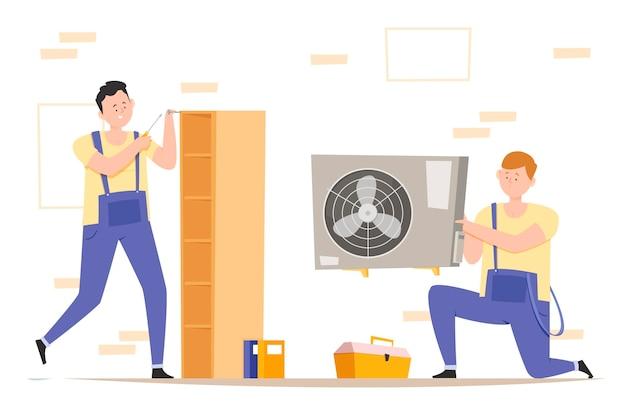 Platte ontwerp huishouden en renovatie beroepen illustratie met mannen