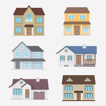 Platte ontwerp huizen instellen illustratie