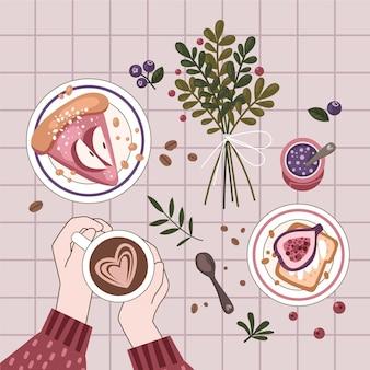 Platte ontwerp hygge concept met maaltijd