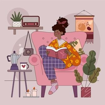 Platte ontwerp hygge concept met vrouw lezen