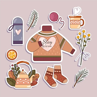 Platte ontwerp hygge stickers set