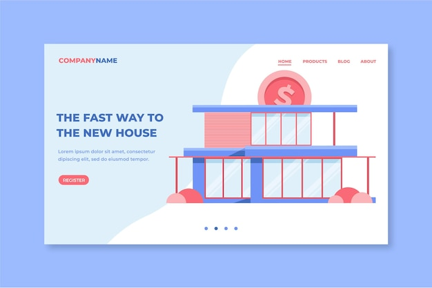 Platte ontwerp hypotheek bestemmingspagina