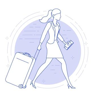 Platte ontwerp icoon van jonge vrouw met koffer op de luchthaven.