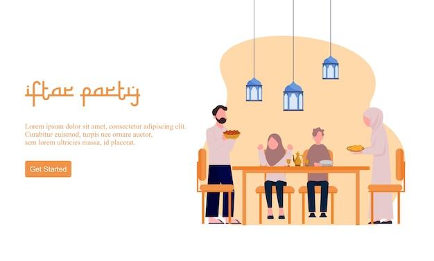 Platte ontwerp iftar eten na vasten feest feest concept. moslim familiediner op ramadan kareem of het vieren van eid met mensenkarakter.