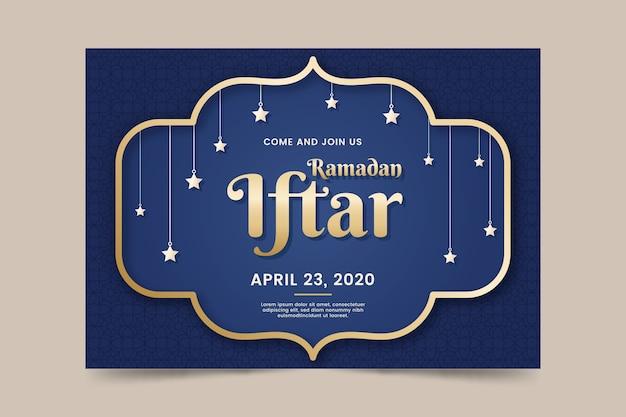 Platte ontwerp iftar uitnodiging sjabloon concept