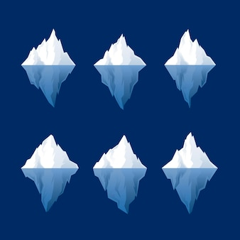 Platte ontwerp ijsberg set