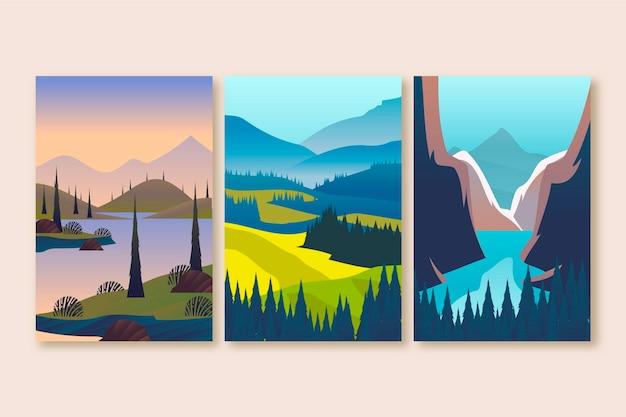 Platte ontwerp illustratie ander landschap ingesteld