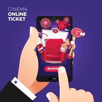 Platte ontwerp illustratie concepten van online bioscoopkaartje bestellen
