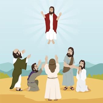 Platte ontwerp illustratie hemelvaartsdag met jezus