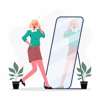 Platte ontwerp illustratie hoog zelfbeeld met vrouw