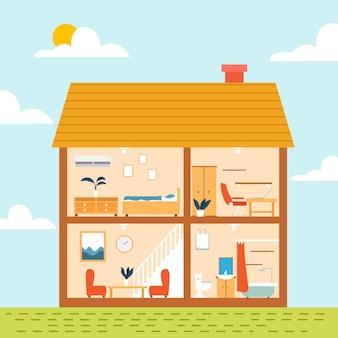 Platte ontwerp illustratie huis in doorsnede