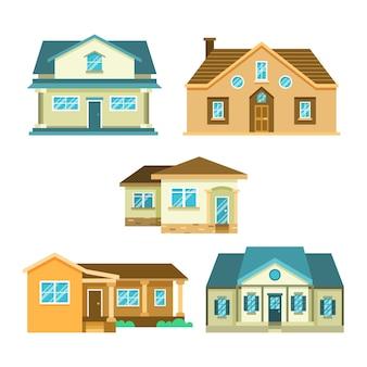Platte ontwerp illustratie huizen pack
