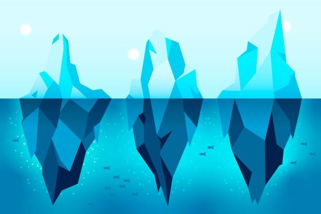 Platte ontwerp illustratie ijsberg pack