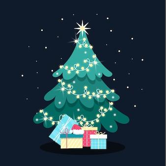 Platte ontwerp illustratie kerstboom