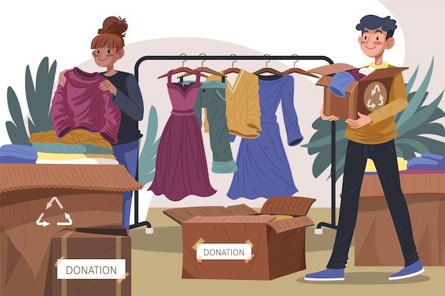 Platte ontwerp illustratie kleding donatie concept