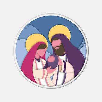 Platte ontwerp illustratie met kerststal