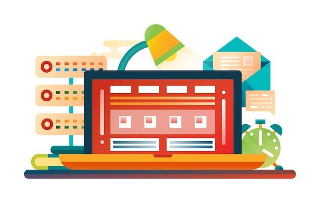 Platte ontwerp illustratie met laptop, lamp, klok, mail, server