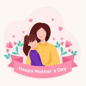 Platte ontwerp illustratie met moederdag