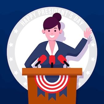 Platte ontwerp illustratie president's day