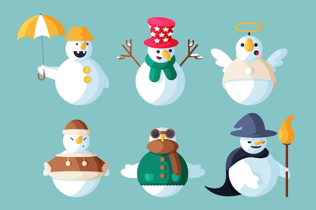 Platte ontwerp illustratie sneeuwpop karakter pack