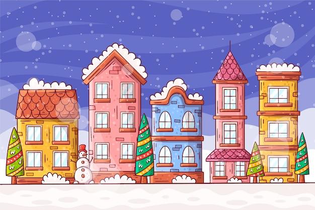 Platte ontwerp illustratie van kerststad