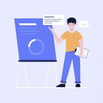 Platte ontwerp illustratie van presentatie